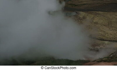 Eruption of the geyser Bolshoy in Valley of Geysers....