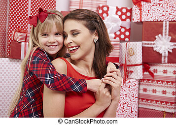 Cute girl and her mommy
