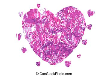 vector heart made of pink foil