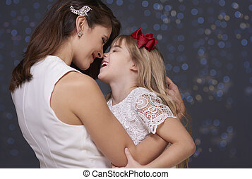 Mother and child having fun together