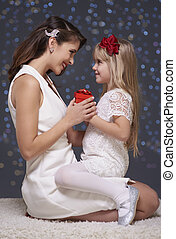 Christmas time of mother and daughter