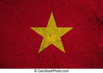Vietnam flag on an old grunge background