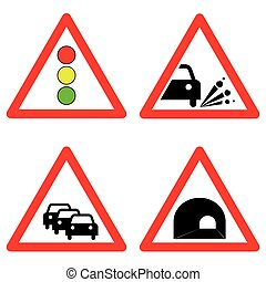 Set of traffic signs. Traffic lights, gravel road, traffic jam, tunnel symbols.