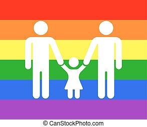 Gay family icon rainbow background. Homosexual love family,...