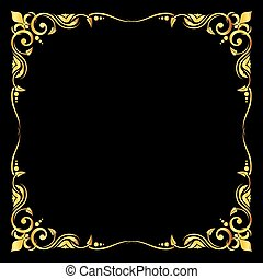 Golden vector ornate royal fleur de lys frame black background