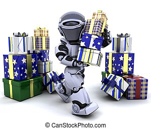 robot with big stack of gifts