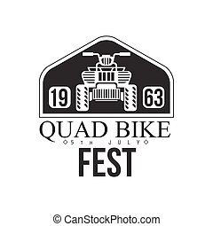 Quad Bike Event Label Design Black And White Template With Text For Quadricycle Rental Business