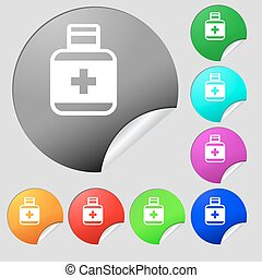 Pill Icons sign. Set of eight multi colored round buttons, stickers. Vector