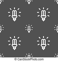 Led Bulb Icon sign. Seamless pattern on a gray background....