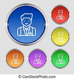 Butler icon sign. Round symbol on bright colourful buttons. Vector