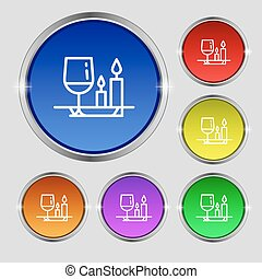 valentine's day meal icon sign. Round symbol on bright...