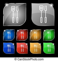 Kitchen utensils set icon sign. Set of ten colorful buttons...