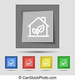 BIO HOUSES ICON sign on original five colored buttons. Vector