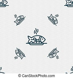 Hot Fish grill icon sign. Seamless pattern with geometric...