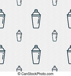 cocktail shaker icon sign. Seamless pattern with geometric texture. Vector