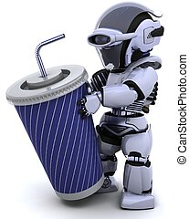robot with a giant soda cup and straw - 3D render of robot...