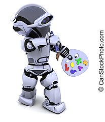 robot with pallette and paint brush - 3D render of robot...