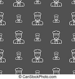 Cook icon sign. Seamless pattern on a gray background. Vector