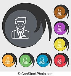 Butler icon sign. Symbols on eight colored buttons. Vector...