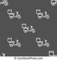 scooter icon sign. Seamless pattern on a gray background. Vector