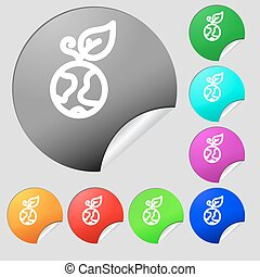 Green apple earth icon sign. Set of eight multi colored round buttons, stickers. Vector