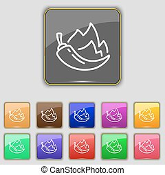 chilli pepper icon sign. Set with eleven colored buttons for...