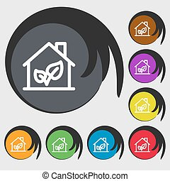 BIO HOUSES ICON sign. Symbols on eight colored buttons. Vector