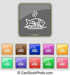 Hot Fish grill icon sign. Set with eleven colored buttons...