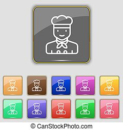 Cook icon sign. Set with eleven colored buttons for your site. Vector