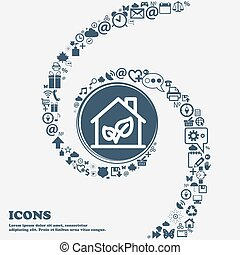 BIO HOUSES ICON in the center. Around the many beautiful symbols twisted in a spiral. You can use each separately for your design. Vector