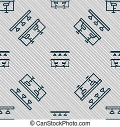 Bar Restaurant icon sign. Seamless pattern with geometric texture. Vector