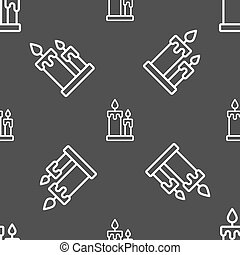 Candle icon sign. Seamless pattern on a gray background....