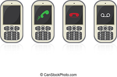four vector cellphones with symbols - illustration