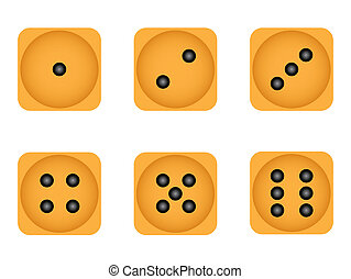 Set of six wooden playing dices
