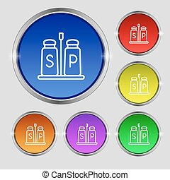 Salt and pepper icon sign. Round symbol on bright colourful buttons. Vector