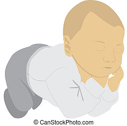 sleeping child dreaming - illustration