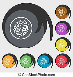 bacteria icon sign. Symbols on eight colored buttons. Vector