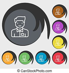 Waiter icon sign. Symbols on eight colored buttons. Vector...