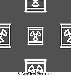 Radiation icon sign. Seamless pattern on a gray background....
