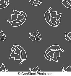 chilli pepper icon sign. Seamless pattern on a gray...