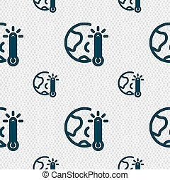 Global Warming, Ecological Problems and Solutions, Thermometer Icon sign. Seamless pattern with geometric texture. Vector