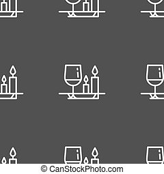 valentine's day meal icon sign. Seamless pattern on a gray...