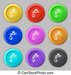 Water tap icon sign. symbol on nine round colourful buttons....