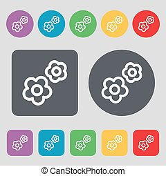 gear icon sign. A set of 12 colored buttons. Flat design....