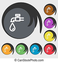 Water tap icon sign. Symbols on eight colored buttons....