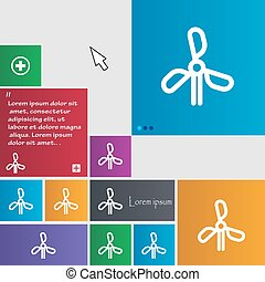 wind turbine icon sign. buttons. Modern interface website...