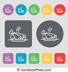 Grill, chicken, meat, barbecue, spice icon sign. A set of 12 colored buttons. Flat design. Vector