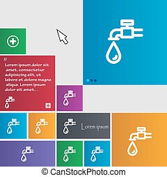 Water tap icon sign. buttons. Modern interface website...