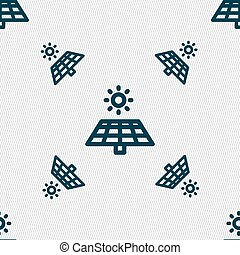 Solar Panels Icon sign. Seamless pattern with geometric texture. Vector