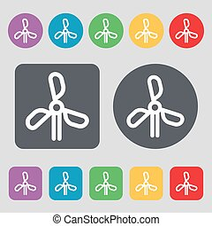 wind turbine icon sign. A set of 12 colored buttons. Flat...